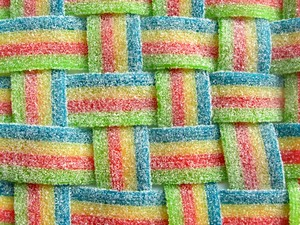 Woven Candys: Belts of candy woven together