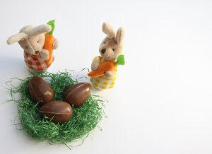 Easter Bunnies 1: Easter motive with white space for greetings