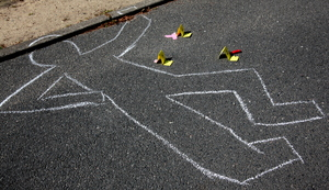 Crime scene: Drawing of a body after an accident or crime