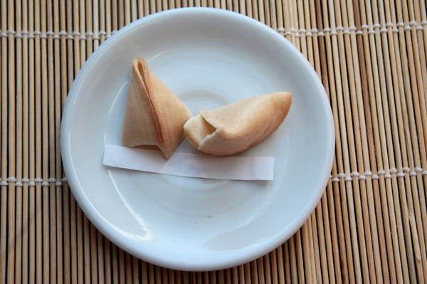 Fortune Cookie: One of the Fortune cookies you get after your meal in a chinese restaurant together with your bill
