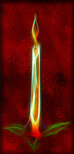 Candle on red foil: Candle on red foil
