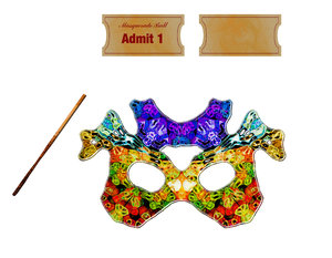 masquerade: A masquerade mask with tickets, basic invitation and all the parts to make your own.