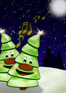 Singing Christmas trees: Cartoon xmas trees