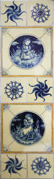 Old blue ceramic tiles. Hand p: Old blue victorian bath tiles. Hand painted