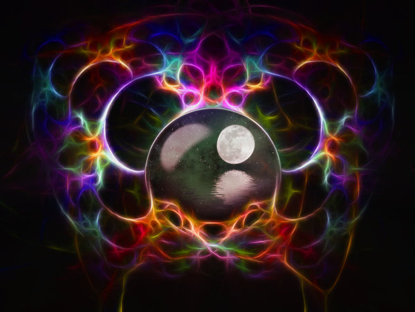Look into my Crystal Ball: Crystal ball with a cosmic pattern around it