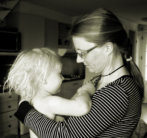 Mother and daughter: Mother, daughter, girls, hug, grayscale