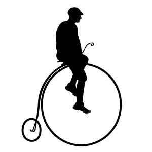 man riding a penny farthing: used a stockphoto and Adobe Illustrator to make this