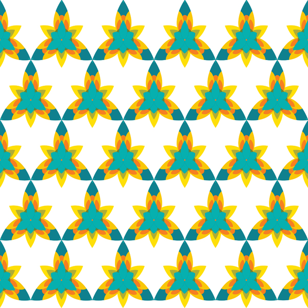 Flower-pattern 01: colorful geometric design made in Illustrator