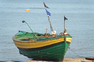 Old boat 1: Old fisherman's boat on  Baltic coast, near Gdynia