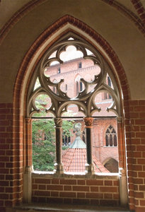 Gothic window: Medieval window from Teutonic order's castle Marienburg (Malbork)