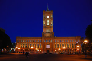 Town hall in East Berlin by ni: Old  red town hall