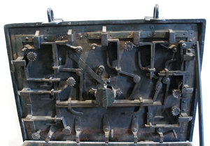 Iron locks of medieval treasur: Old and very complicated medieval lock for treasure chest