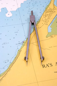 Compasses on the sea map: Navigation map and compasses