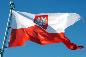 Polish navy flag  1: Flaunted polish navy ensign