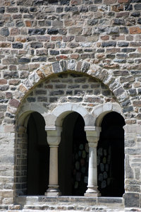 Romanesque elements of medieva: Window of cloister in monastery in Magdeburg, Germany