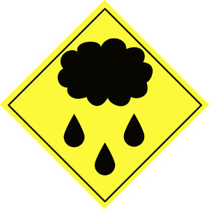 Weather warning sign 2: Cloud and rain symbol