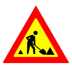 Beware sign 3: Warning road under construction