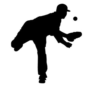 Baseball player 4: Silhouette of pitcher