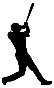 Batter from baseball team 1: Silhouette of baseball player