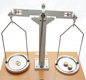 Money or mariage 3: Weighing scale with wedding rings and money