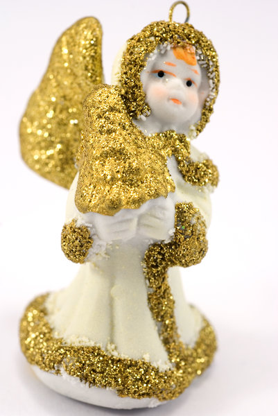 Ceramic angel 1: Ceramic angel with golden wings - christmas tree decoration