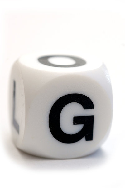 Character G on the cube: Dice with letter