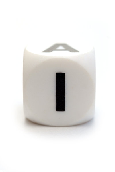 Character I on the cube: Dice with letter