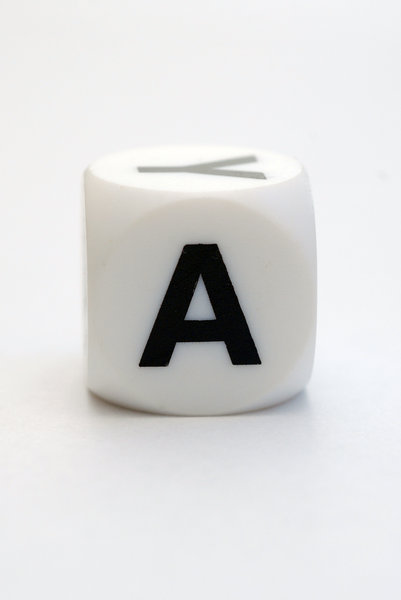 Dice with letter A: Character on the cube