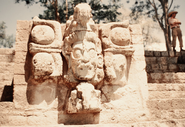 Pre-Columbian sculptures from: Maya art from pre-Columbian city today known as Copán - is a locale in western Honduras