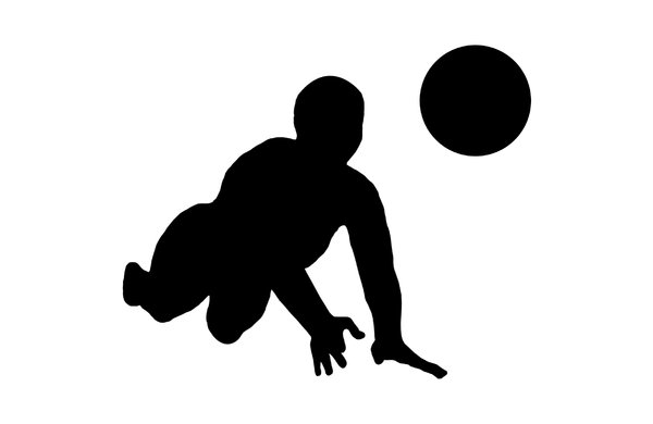 Volleyball 5: Silhouette of playing girl