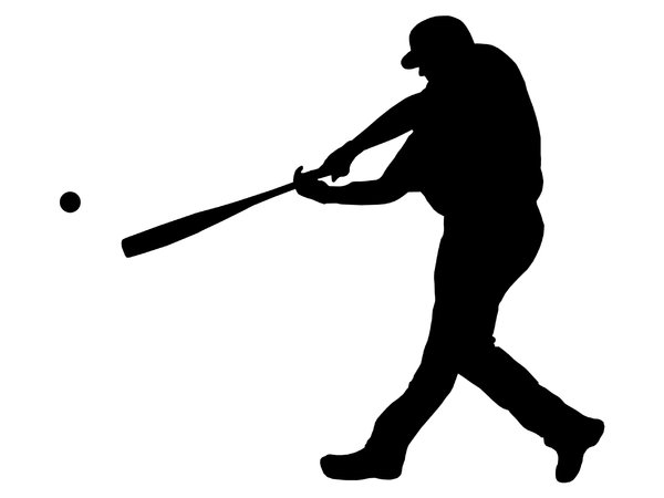 Batter from baseball team 3: Silhouette of baseball player