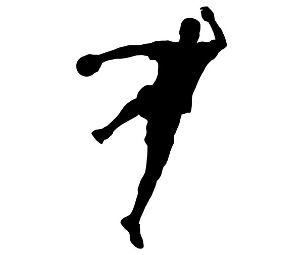 Silhouette of handball player : Shape of sportsman