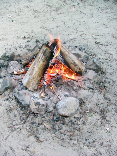Camp fire: ... in a cloudy afternoon