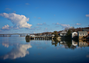 morning reflections: this a shot of sakonnet  river in tiverton ri. it was a early morning, river was like glass