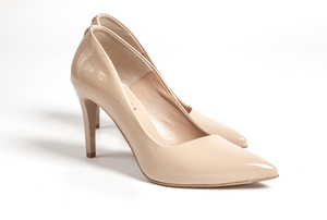 high heel shoes: beige shoes