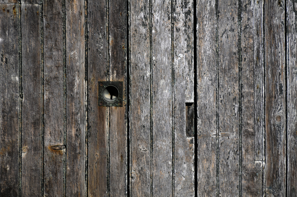 wall: wooden door, detail
