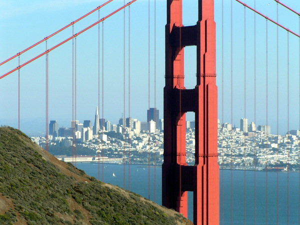 Golden Gate Bridge: A view of San Francisco through the Golden Gate Bridge.