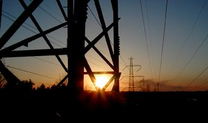 Setting the power 1: Powerlines in sunset