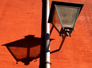 Classic streetlamp and shadow: No description
