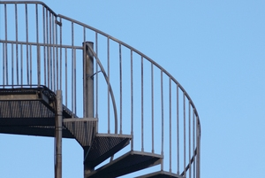 Outdoor staircase: Outdoor staircase with blue sky as background