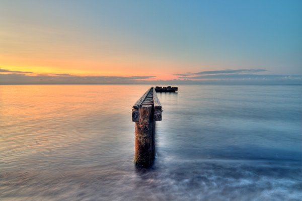 Before sunrise - HDR: A breakwater in morning light. The picture is HDR using 5 images.