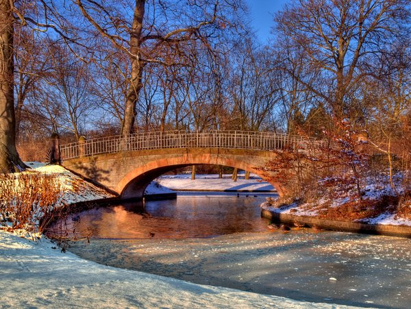 Winter park - HDR: A small bridge in a park. The picture is HDR using five individual shots.