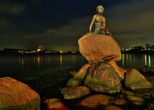 The Little Mermaid - HDR: A night shot of the original little mermaid in Copenhagen, Denmark. The picture is HDR derived from 3 shots. There are no copyright issues on pictures of the little mermaid.