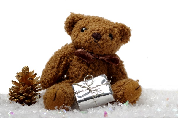 Teddybear with present: Teddybear with silver present and golden cone in snow