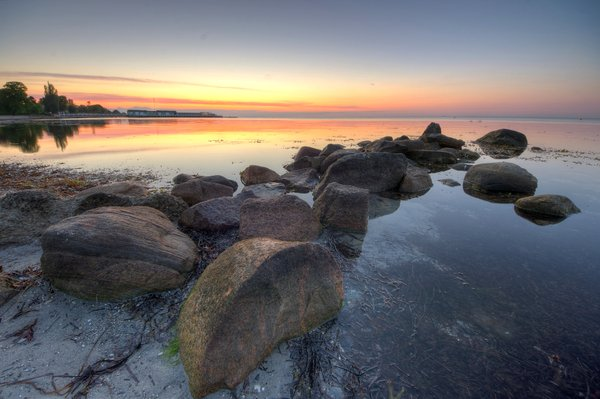Calm morning  - HDR: Early morning before sunrise at the cost with a dead calm sea. The image is HDR.