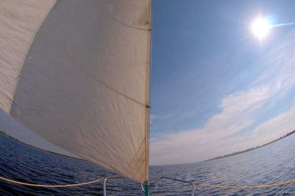 Sailing boat - HDR: Sails and horizon from a sailingboat using fisheye lens. The image is HDR.