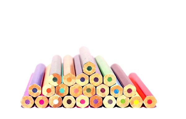 Colour pencils: Colour pencils in a pile isolated with white background