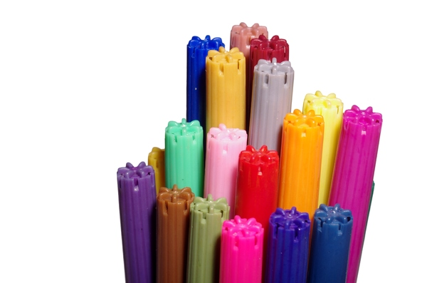 Colouring pens: A bunch of colouring pens isolated aith white background.
