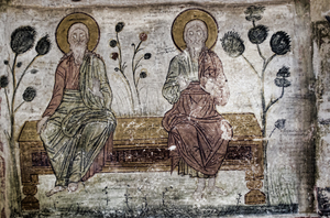 old wall painting: old wall painting in St Stefanos monastery-Meteora-Greece