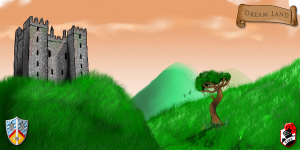 Castle on hill: Digital paint with a castle on a hill of scotland